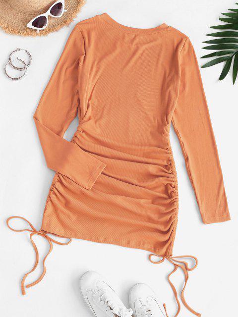 Geripptes Bodycon Minikleid mit Tunnelzug - Hell orange L Mobile