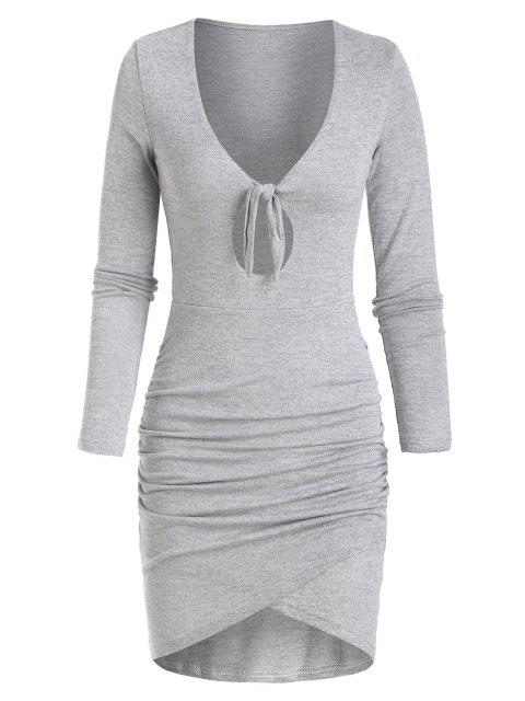 fashion Knitted Tied Keyhole Tulip Dress - LIGHT GRAY L Mobile