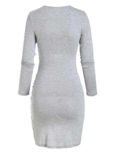 outfits Knitted Tied Keyhole Tulip Dress - LIGHT GRAY S Mobile