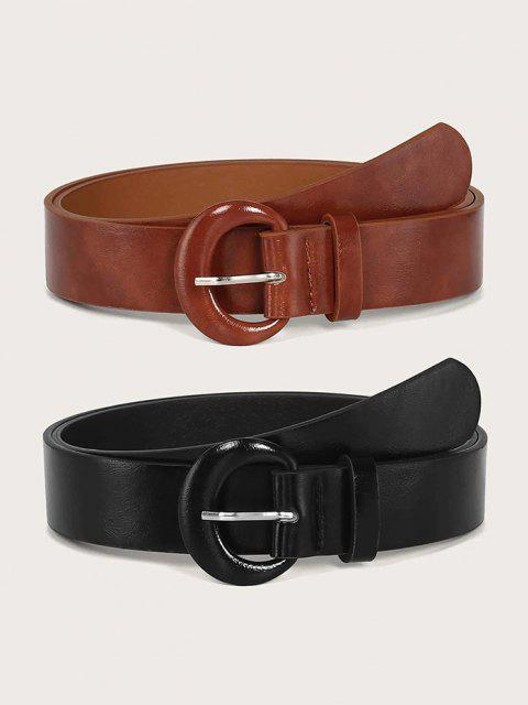 2Pcs Solid Faux Leather C Shape Buckle Belt Set - متعدد  Mobile