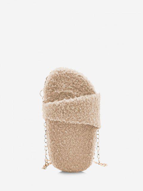 Sac à Bandoulière Chaîne Fourré en Forme D'Slipper - Beige  Mobile