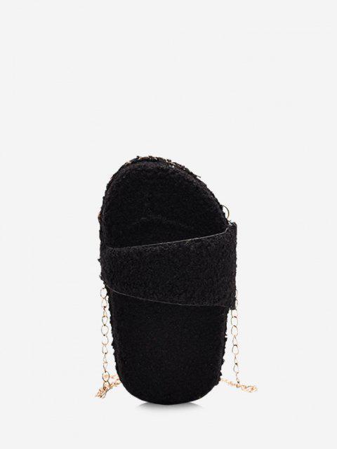 outfits Slipper Shape Fluffy Chain Crossbody Bag - BLACK  Mobile
