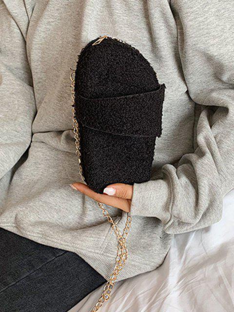Borsa a Tracolla con Catena e Motivo a Forma di Sandali - Nero  Mobile