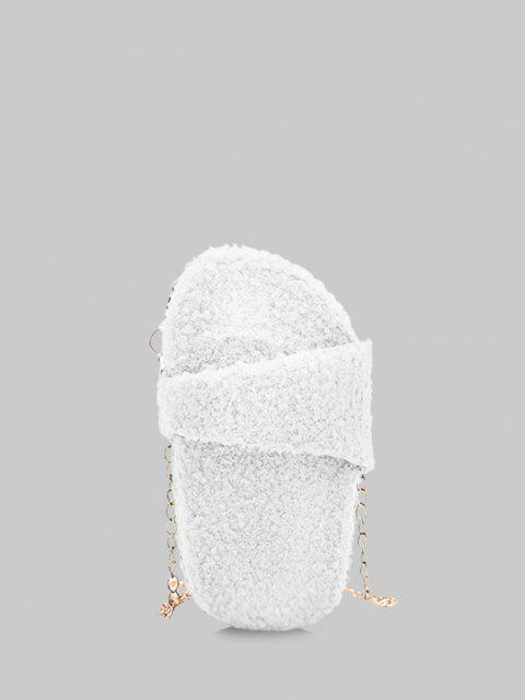 shop Slipper Shape Fluffy Chain Crossbody Bag - MILK WHITE  Mobile
