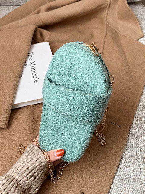 shops Slipper Shape Fluffy Chain Crossbody Bag - MEDIUM TURQUOISE  Mobile
