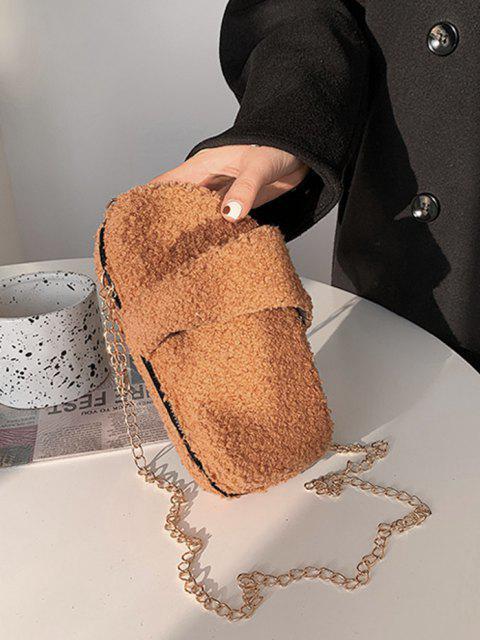 trendy Slipper Shape Fluffy Chain Crossbody Bag - LIGHT BROWN  Mobile