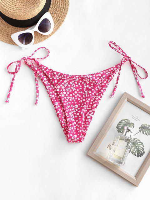 buy ZAFUL Ditsy Print Tie Side Cheeky Bikini Bottom - LIGHT PINK L Mobile