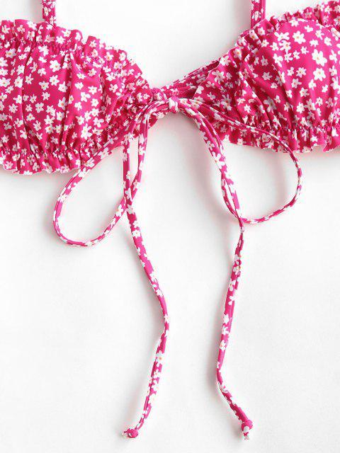 women ZAFUL Ditsy Print Ruffle Tie Front Bikini Top - LIGHT PINK M Mobile