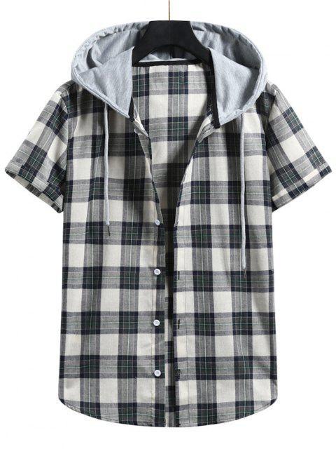 affordable Plaid Colorblock Hood Short Sleeve Shirt - GRAYISH TURQUOISE 2XL Mobile