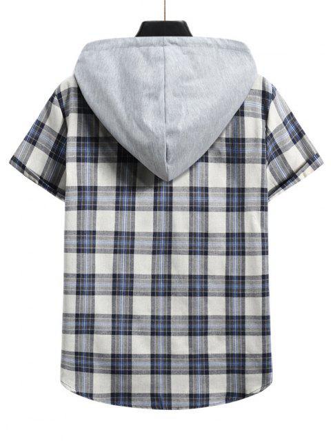 women's Plaid Colorblock Hood Short Sleeve Shirt - BLUE KOI L Mobile