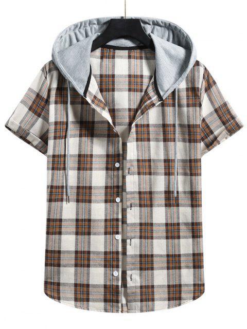 shop Plaid Colorblock Hood Short Sleeve Shirt - CAMEL BROWN XL Mobile