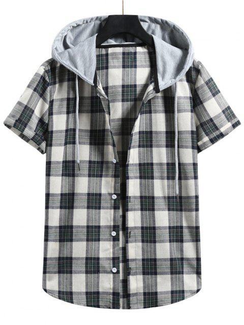 outfit Plaid Colorblock Hood Short Sleeve Shirt - GRAYISH TURQUOISE S Mobile