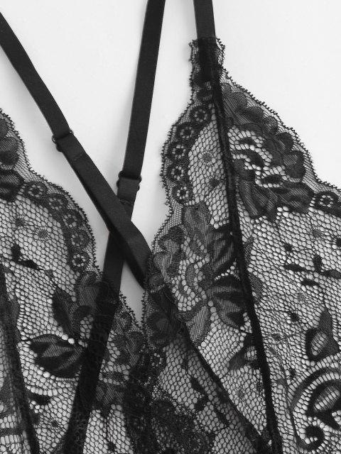 trendy Lace Scalloped Criss Cross Backless Garter Lingerie Teddy - BLACK XL Mobile