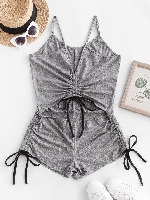 ladies Heather Cutout Cinched Unitard Romper - LIGHT GRAY L Mobile
