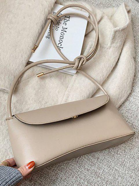 Knotted Strap Cover Shoulder Bag - كاكي  Mobile
