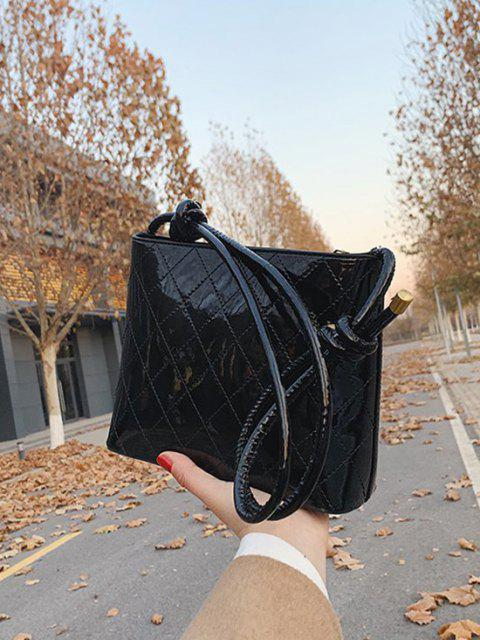 shop Knotted Strap Rhombus Stitching Shoulder Bag - BLACK  Mobile
