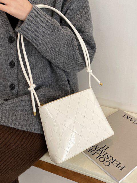 Geknotete Gurt Rhombus Nähte Umhängetasche - Weiß  Mobile