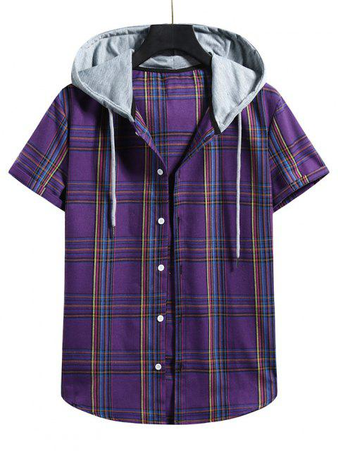 ladies Plaid Pattern Shirt With Colorblock Hood - PURPLE IRIS L Mobile