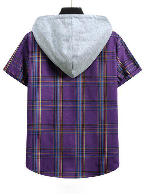 hot Plaid Pattern Shirt With Colorblock Hood - PURPLE IRIS M Mobile