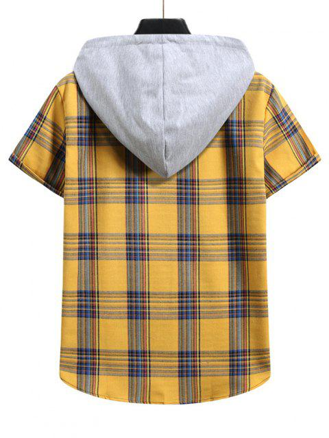 shop Plaid Pattern Shirt With Colorblock Hood - BEE YELLOW M Mobile