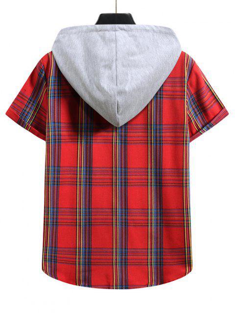 Plaid Pattern Shirt With Colorblock Hood - الحمم الحمراء M Mobile