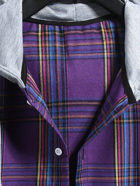 unique Plaid Pattern Shirt With Colorblock Hood - PURPLE IRIS 2XL Mobile