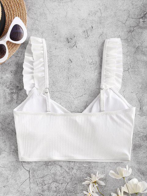 ZAFUL Débardeur de Bikini Côtelé à Volants - Blanc M Mobile