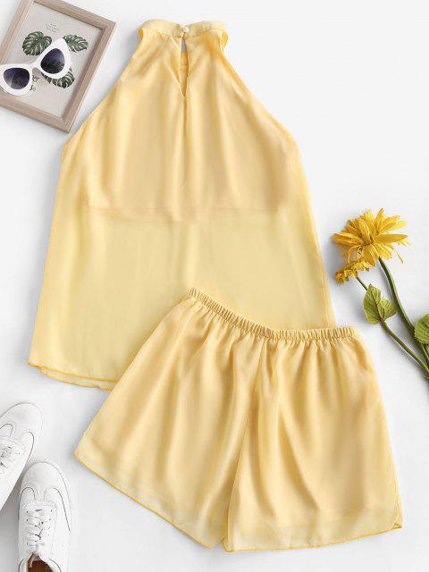 fashion Chiffon Overlay Cutaway Keyhole Back Shorts Set - YELLOW M Mobile