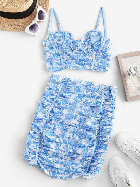 outfits Flower Mesh Ruched Bustier Skirt Set - LIGHT BLUE L Mobile