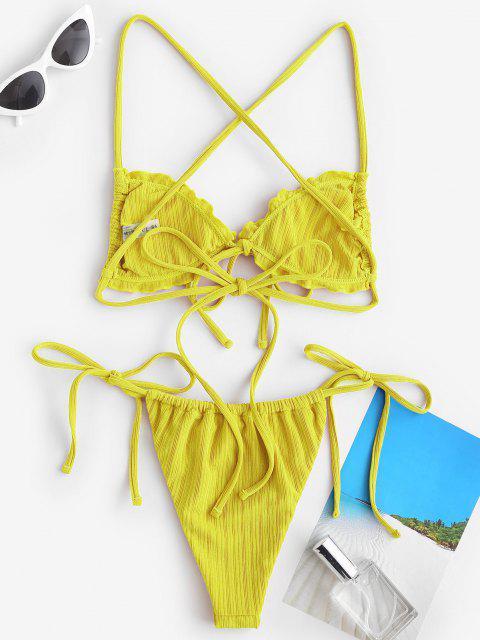 Costume da Bagno Bikini Annodato a Costine con Volant di ZAFUL - Giallo S Mobile