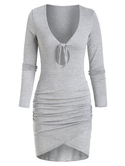 Knitted Tied Keyhole Tulip Dress - Light Gray M