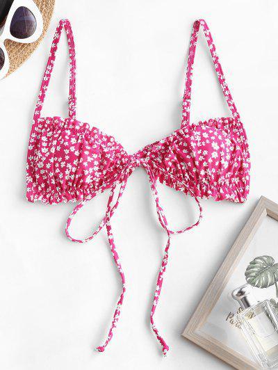 ZAFUL Ditsy Print Ruffle Tie Front Bikini Top - Light Pink M