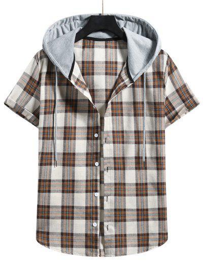 Plaid Colorblock Hood Short Sleeve Shirt - Camel Brown S
