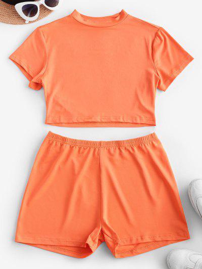 Active Mock Neck Skinny Shorts Set - Orange S