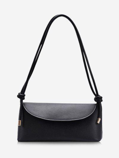 Knotted Strap Cover Shoulder Bag - Black
