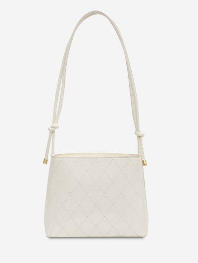 Knotted Strap Rhombus Stitching Shoulder Bag - White