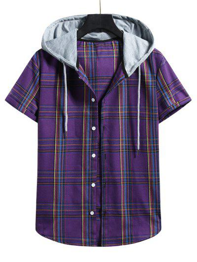 Plaid Pattern Shirt With Colorblock Hood - Purple Iris L