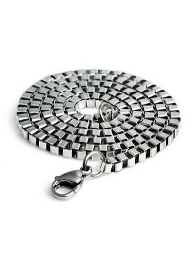 2MM Width Box Chain Stainless Steel Necklace - Silver 60cm
