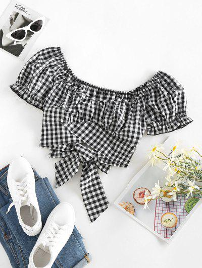 ZAFUL Plaid Ruched Puff Sleeve Bowknot Blouse - Black S