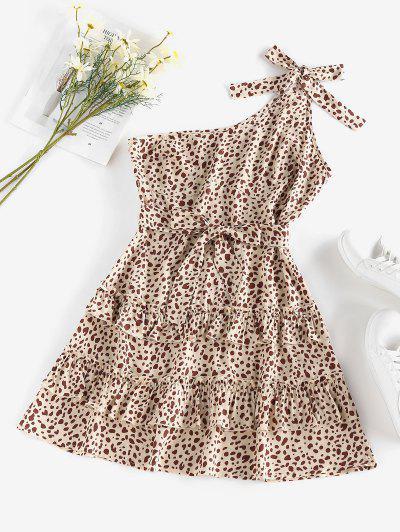 ZAFUL Leopard Einziger Schulter Volant Geschichtetes Kleid - Licht Kaffee M