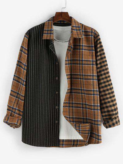 ZAFUL Plaid Striped Colorblock Long Sleeve Shirt - Black M