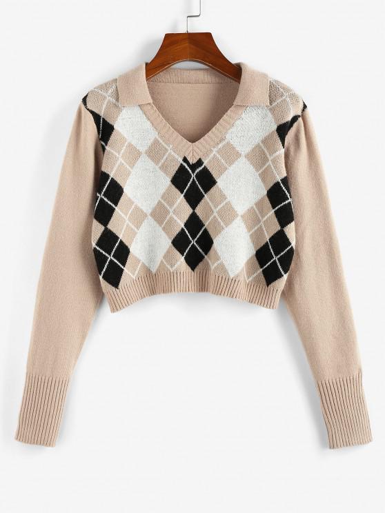 sale ZAFUL Argyle V Notch Crop Sweater - LIGHT COFFEE M