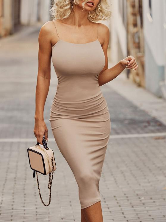 new Twist Back Ruched Detail Slinky Midaxi Jersey Dress - LIGHT COFFEE M