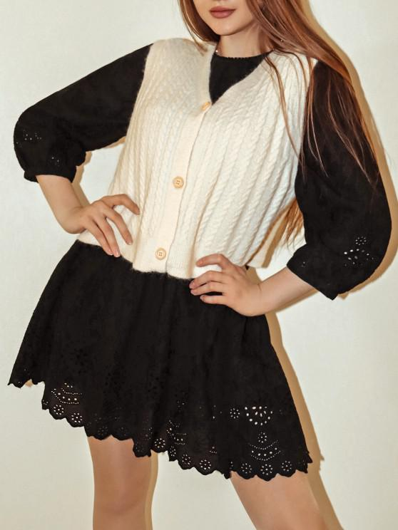 shops Cable Knit Plunge Cardigan Vest - WHITE ONE SIZE