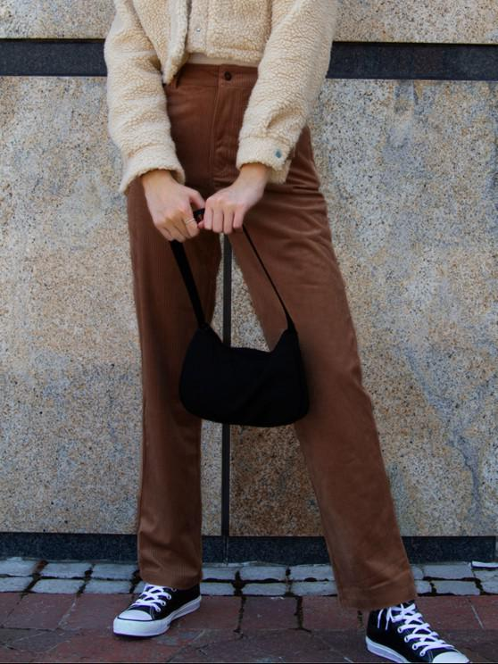 womens ZAFUL High Waisted Corduroy Pants - DEEP COFFEE M