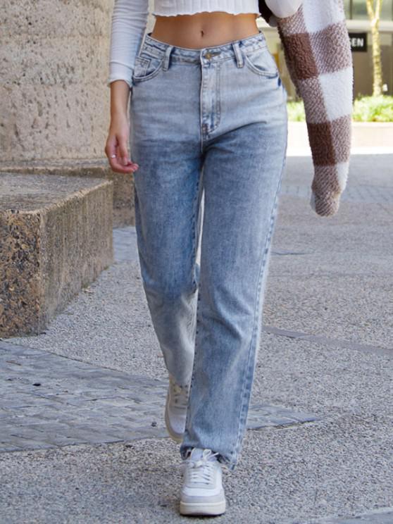 Distressed Pocket Dip Dye High Waisted Straight Jeans - أزرق S