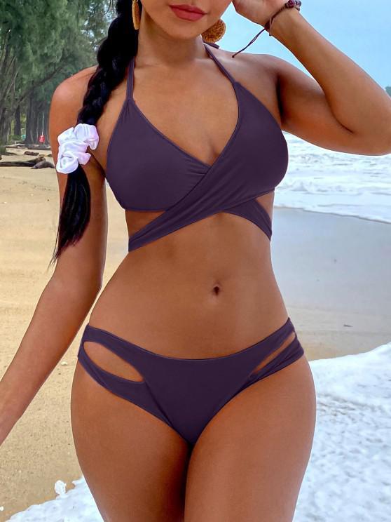ladies ZAFUL Halter Cut Out Wrap Bikini Set - DEEP PURPLE M