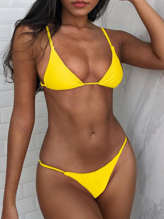 latest Bralette Thong String Bikini Set - YELLOW S