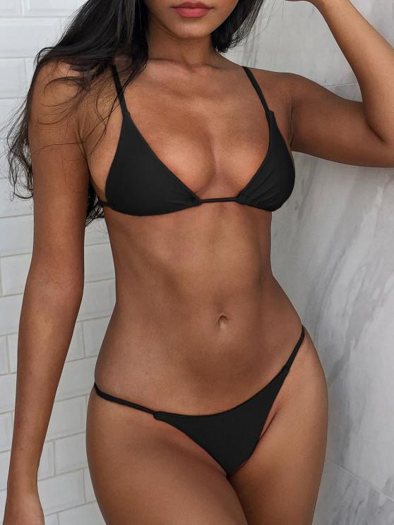 outfits Bralette Thong String Bikini Set - BLACK S