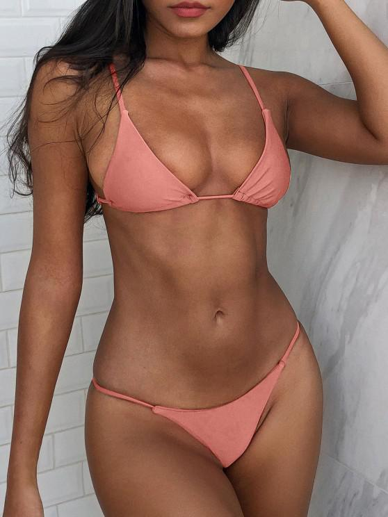 sale Bralette Thong String Bikini Set - LIGHT PINK L